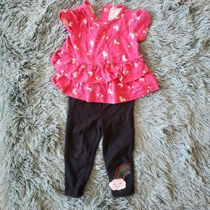 Girls Two Piece Pink Unicorn Top and Leggings